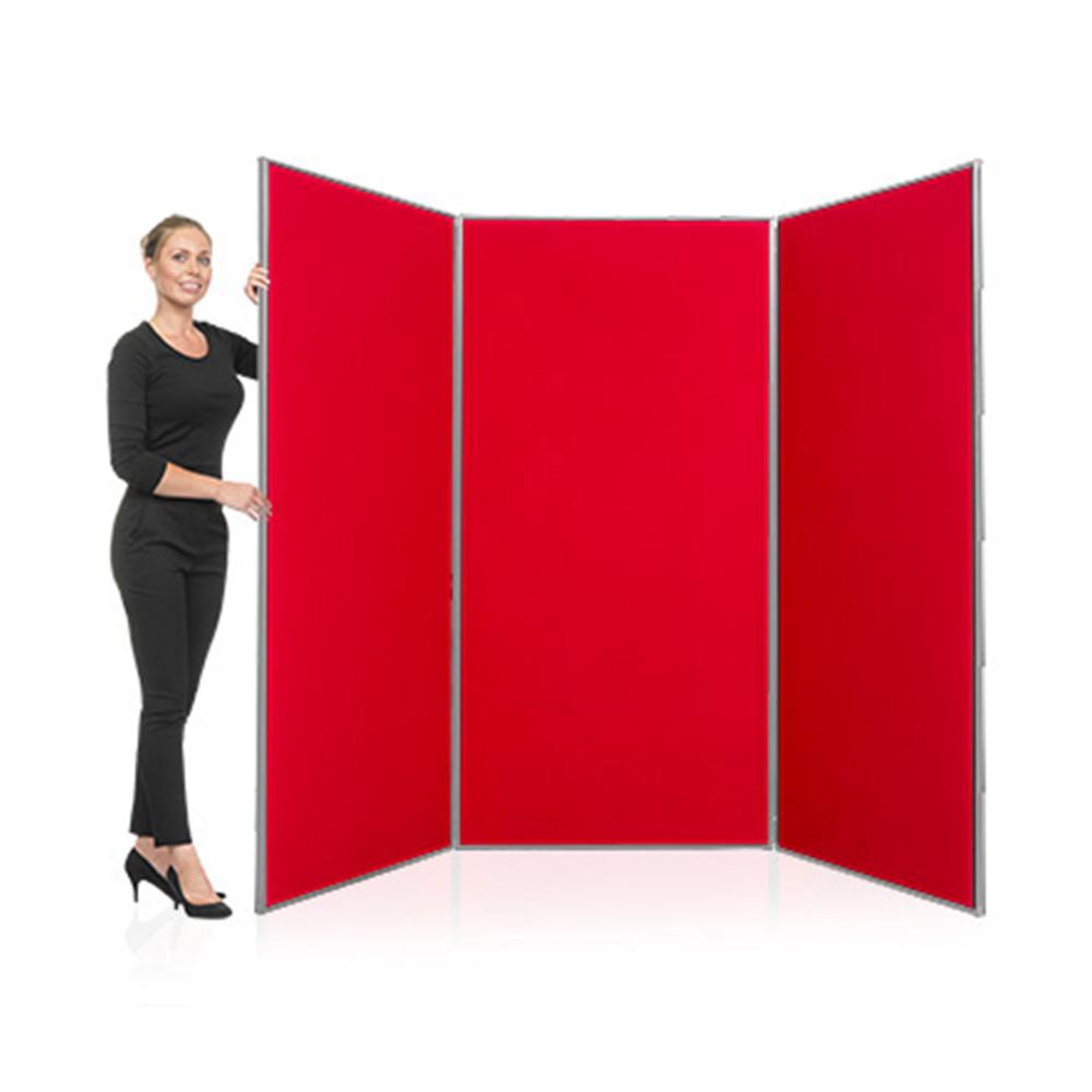 3 Panel Jumbo Presentation Board Display Kit with Aluminium Frame and Red Fabric
