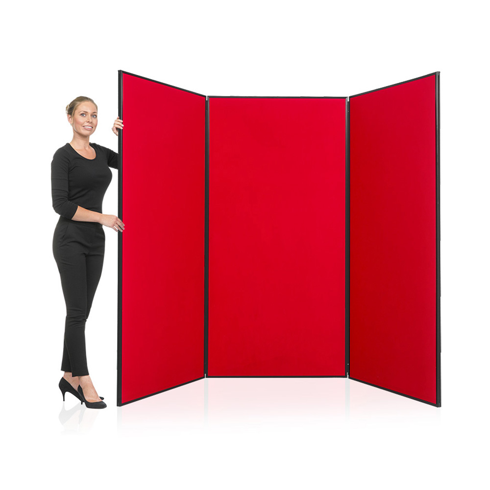 3 Panel Jumbo Display Board in Red with Black PVC Frame