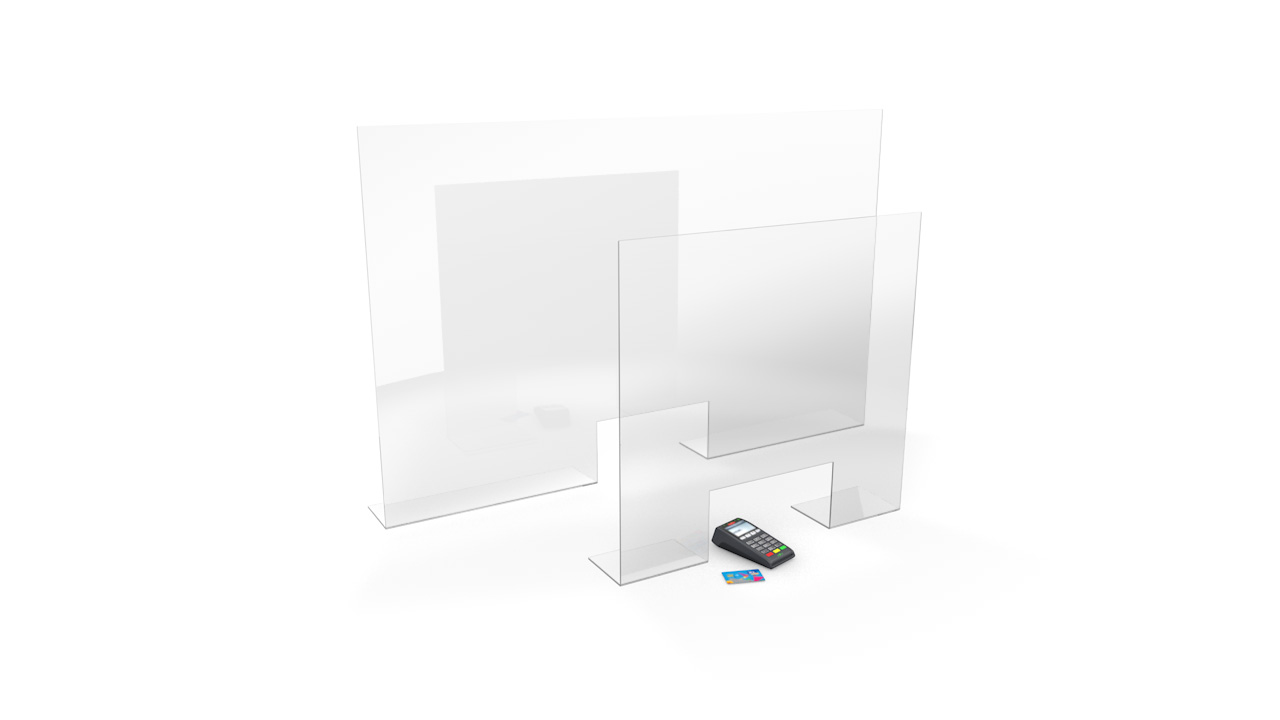STANDARD Free Standing Sneeze Guards With Cut Out