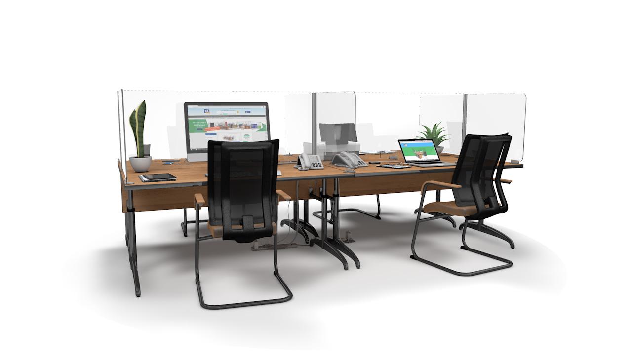 ACHOO<sup>®</sup>Crystal Clear Modular Desk Screens 4 Bay Workstation Dividers