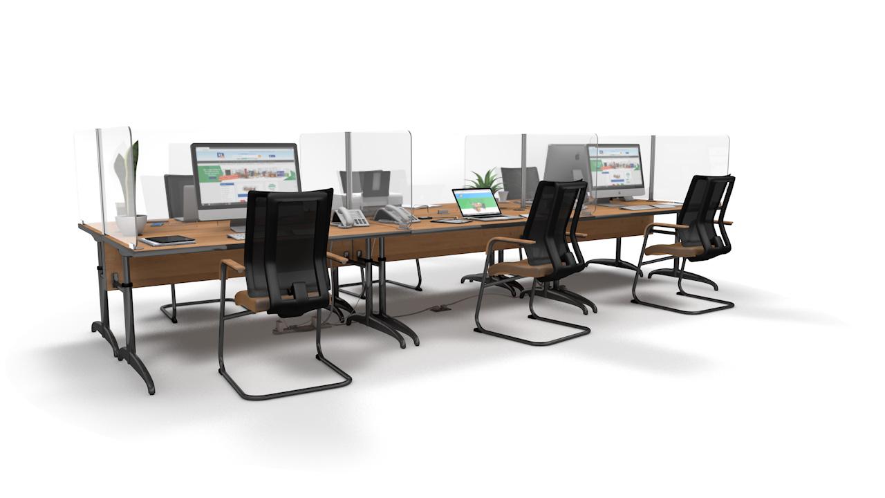 ACHOO<sup>®</sup>Crystal Clear Modular Desk Screens 6 Bay Workstation Dividers