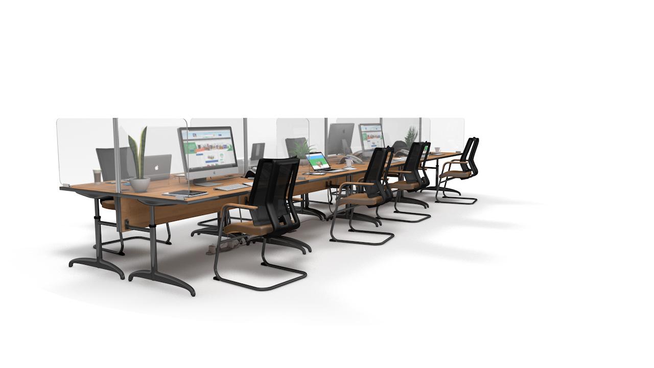 ACHOO<sup>®</sup>Crystal Clear Modular Desk Screens 8 Bay Workstation Dividers