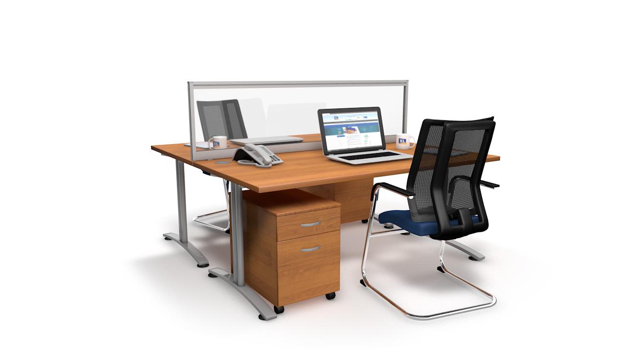Glazed Acrylic Desk Screen With Single Tool Rail