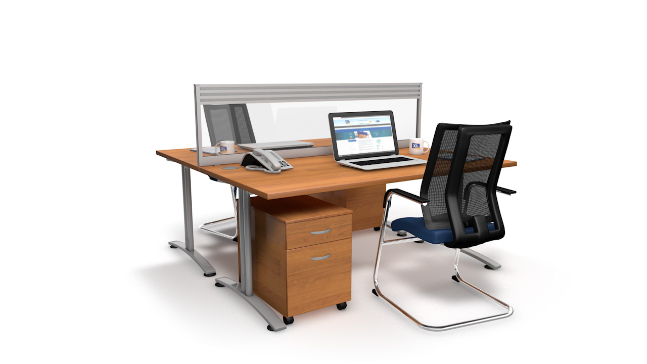 Glazed Acrylic Desk Screens With Quad Tool Rail