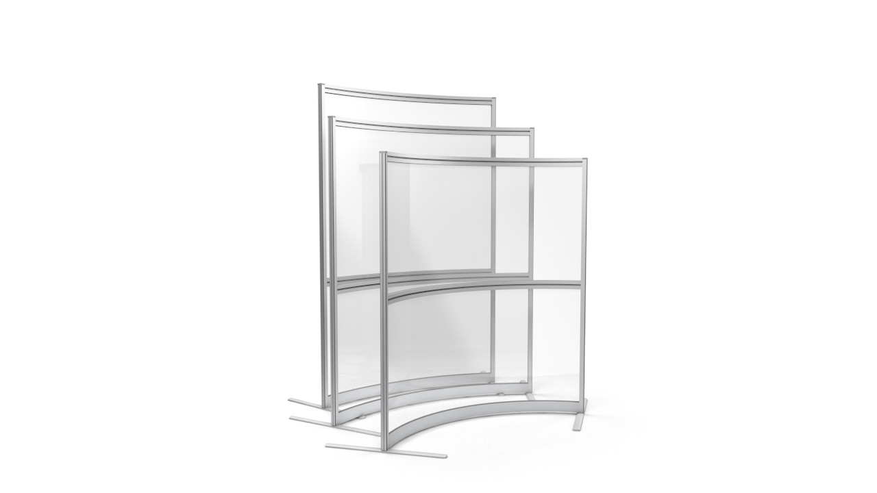 Glazed Acrylic Office Screens Straight