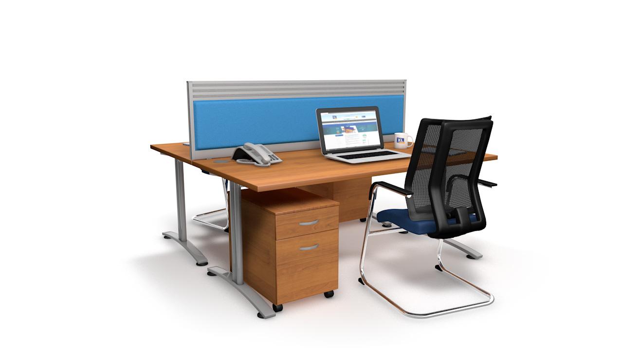 Premium Acoustic Desk Partition With Quad Tool Rail