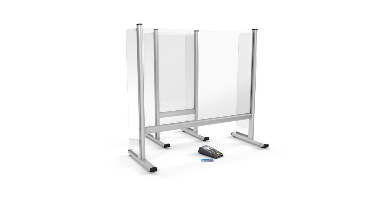 Free Standing Desk Perspex<sup>®</sup> Sneeze Guard With Sidewall Protection
