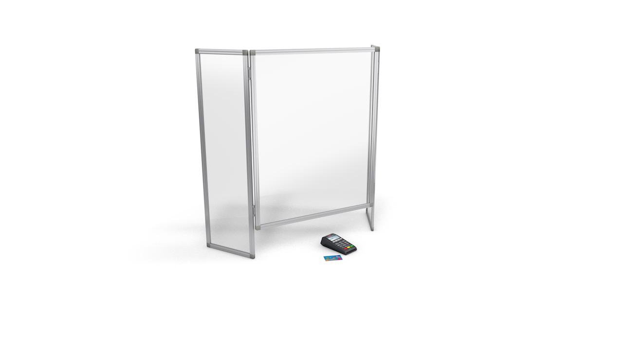 Folding Perspex<sup>®</sup> Sneeze Screen With Side Wings