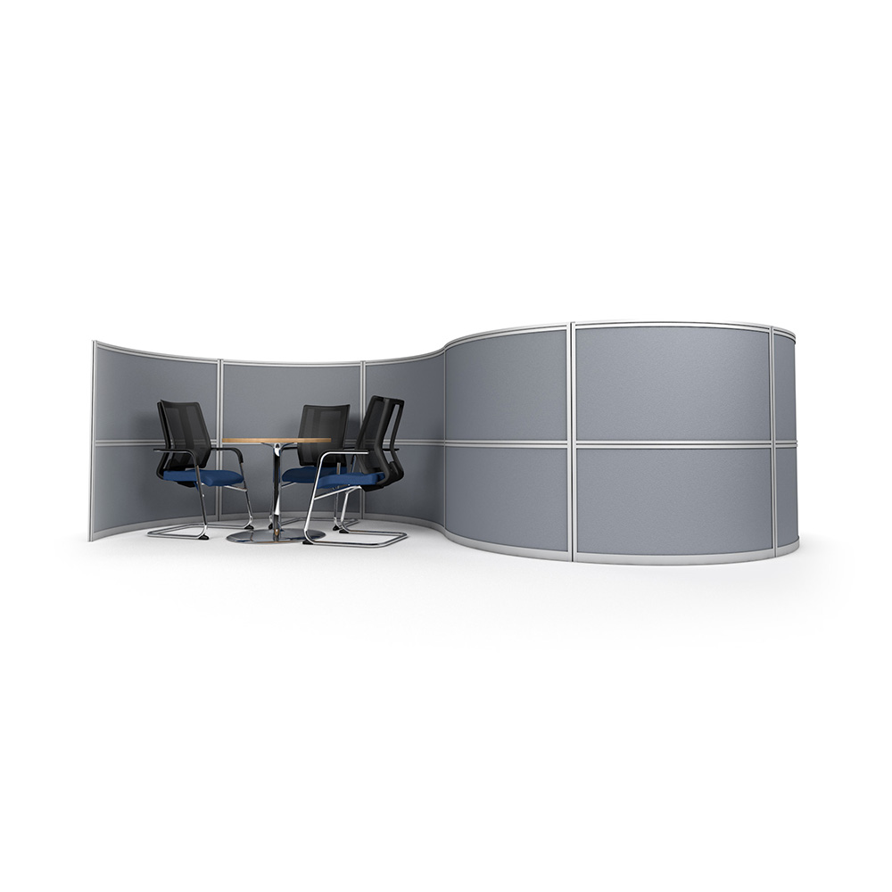S-Shaped Office Divider Screen with Space for Two Meeting Pods