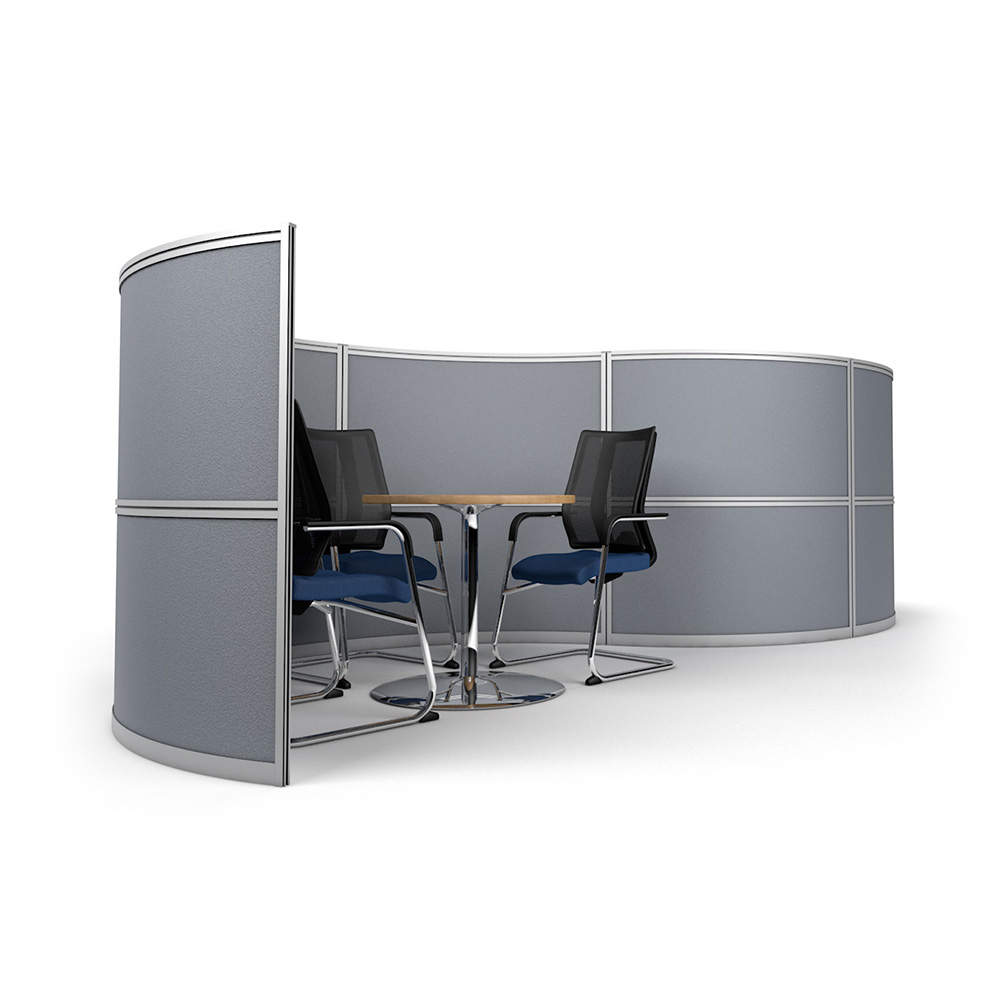 Side View of S-Shape Office Partition with Meeting Pod
