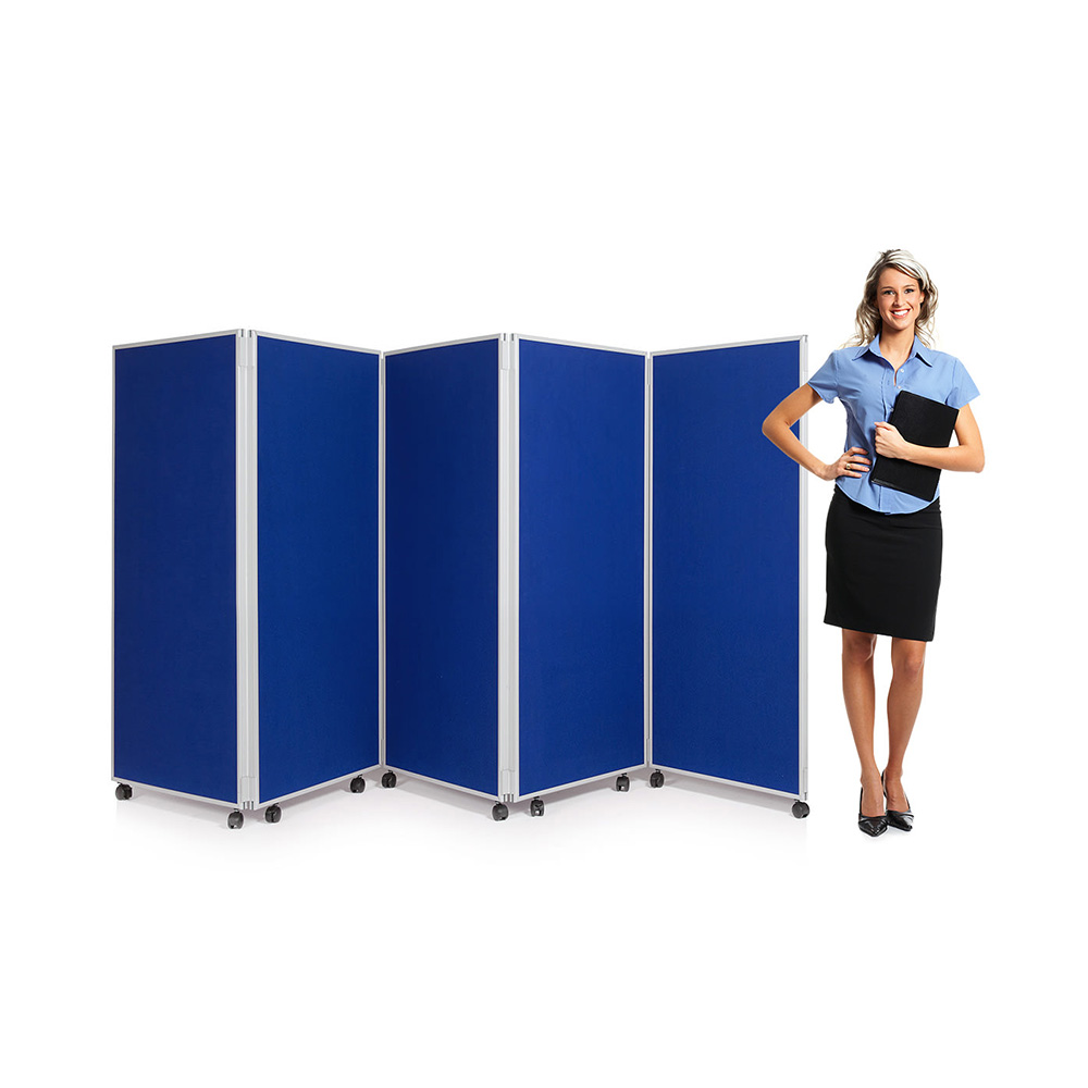 5 Panel Office Screen Divider on Wheels Comes With 1500mm Height Option