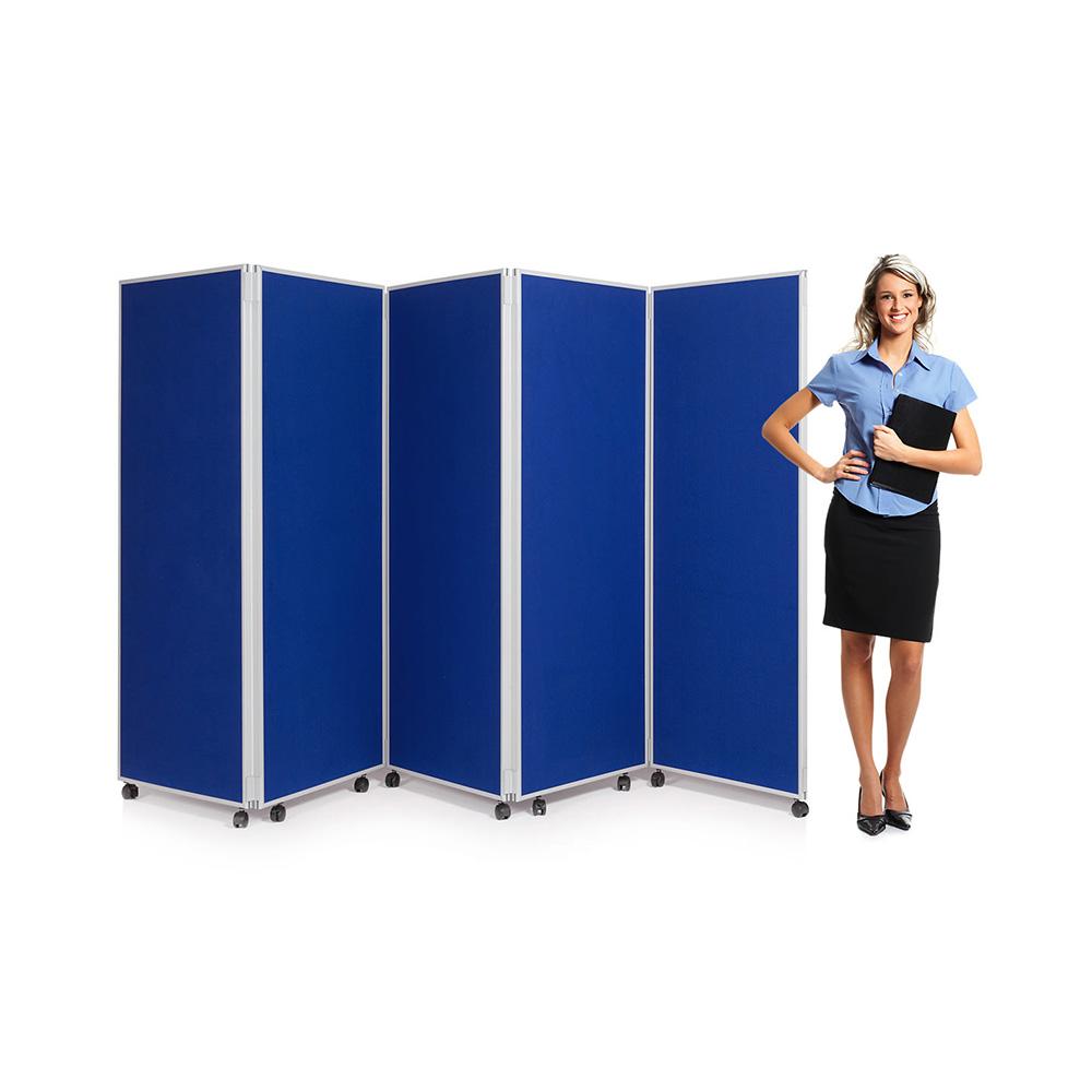 5 Panel Concertina Folding Screen Blue Fabric 1800mm High
