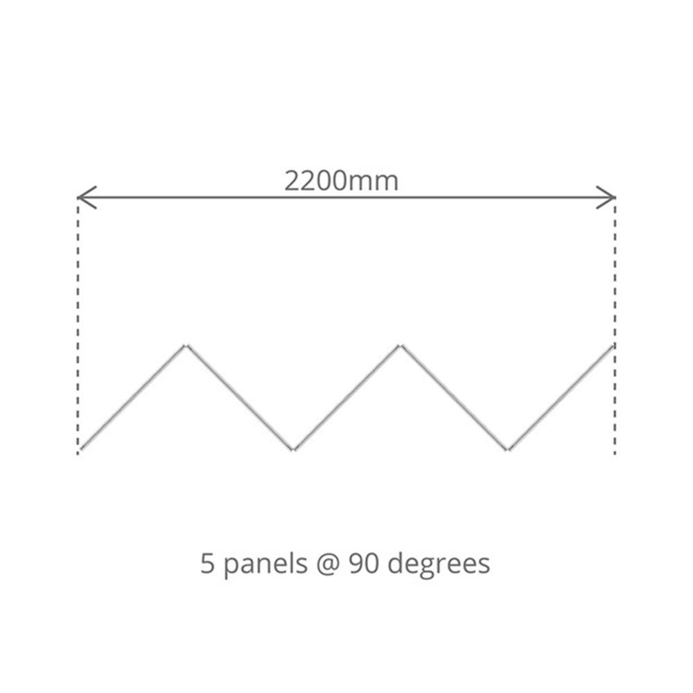 Top Down Floor Plan of 5 Panel Concertina Screen Dimensions
