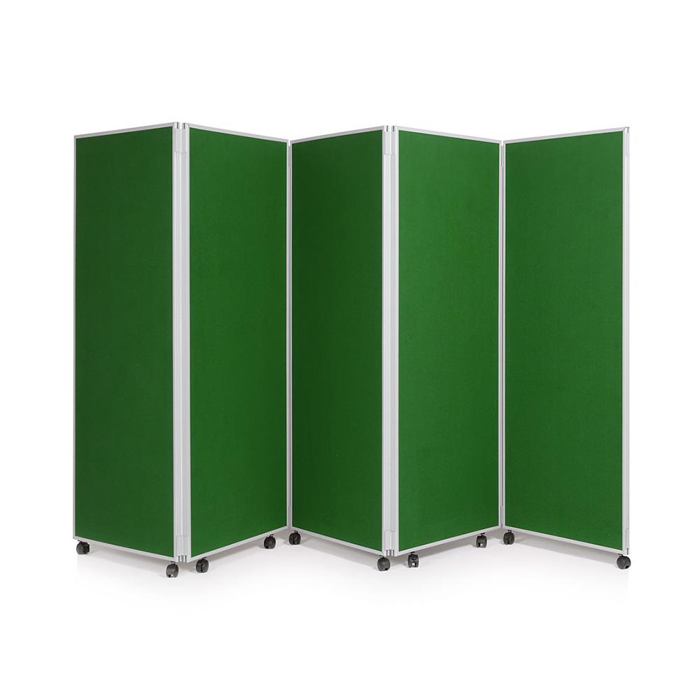 5 Panel Folding Office Partition on Wheels with Green Fabric