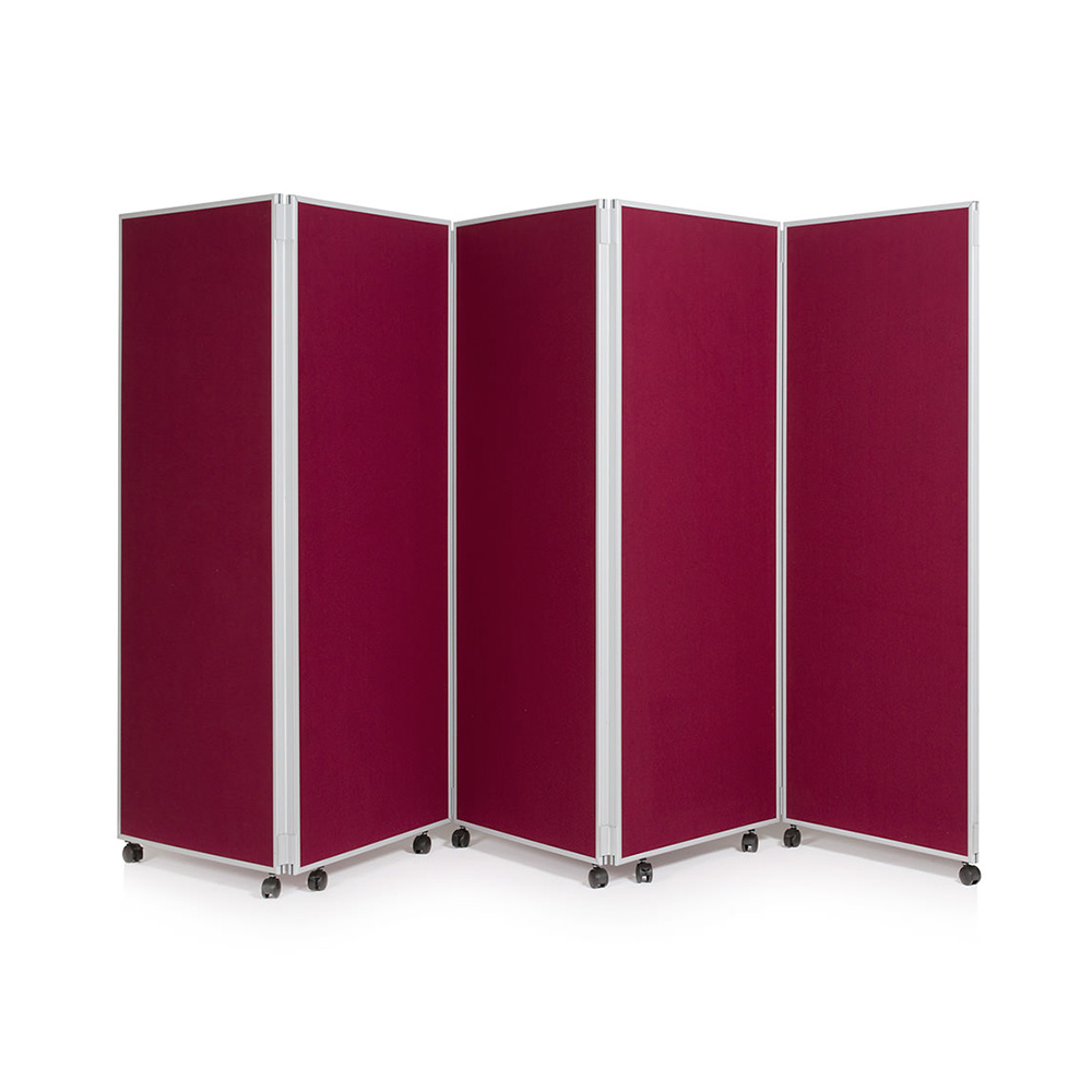 5 Panel Folding Divider on Wheels in Red