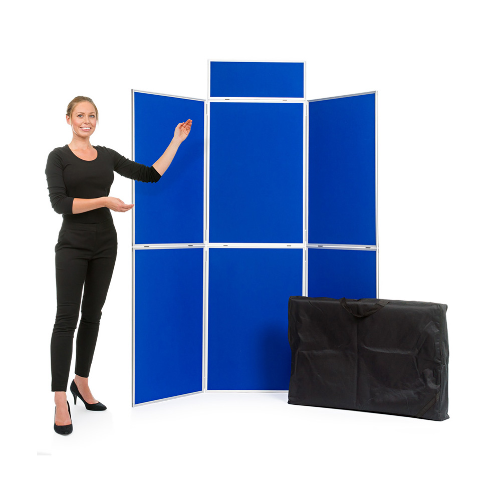 6 Panel Aluminium Folding Display Board with Header Panel and Carry Bag in Blue Fabric