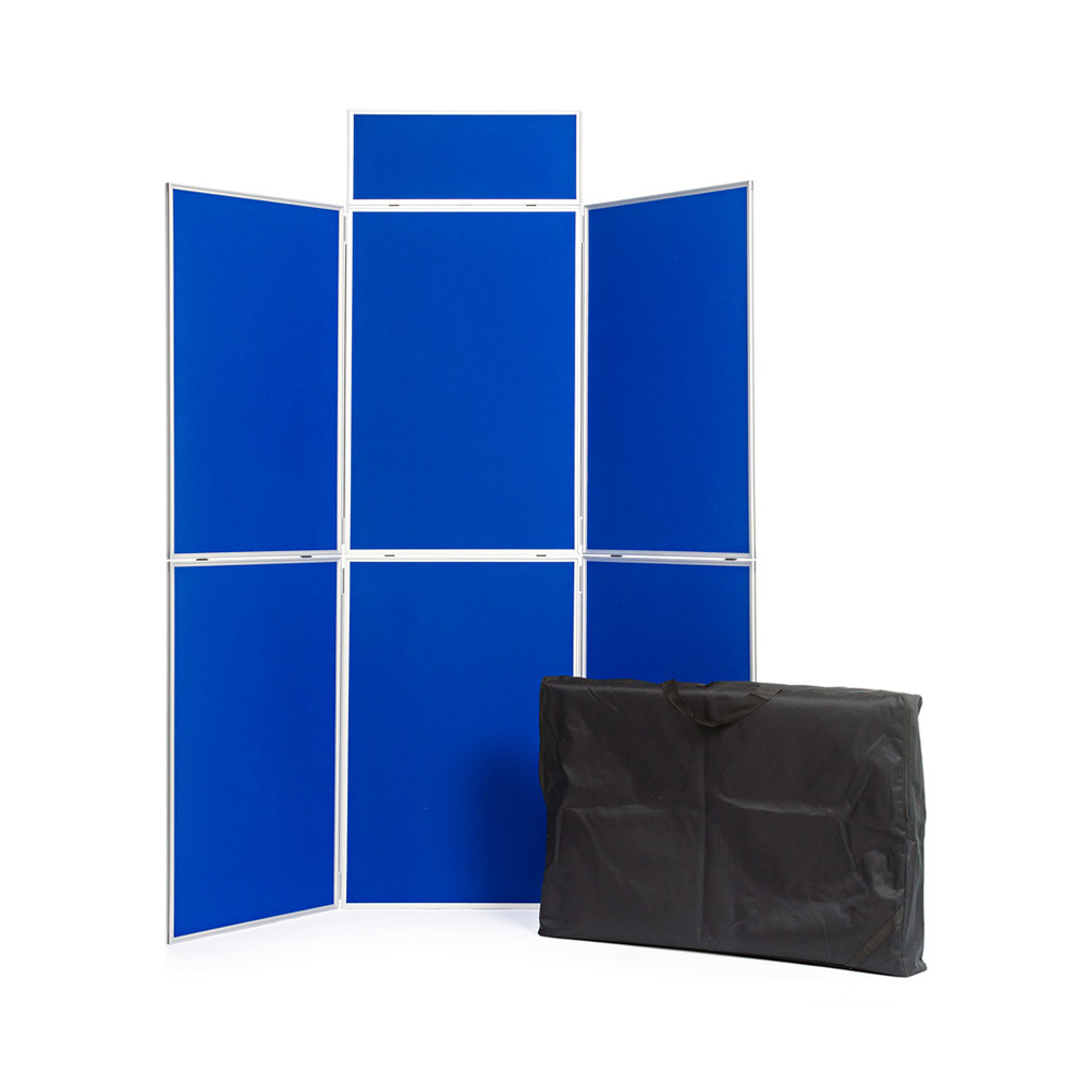 6 Panel Aluminium Folding Display Board with Header and Included Travel Bag