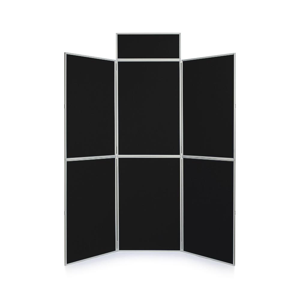 6 Panel Folding Presentation Kit in Black Fabric with Header Panel