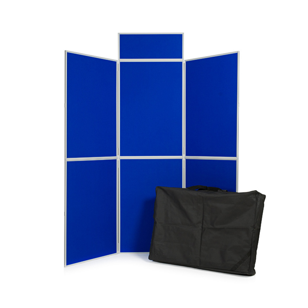 6 Panel Folding Display Board with PVC Frame, Blue fabric Panels, Header and Carry Bag