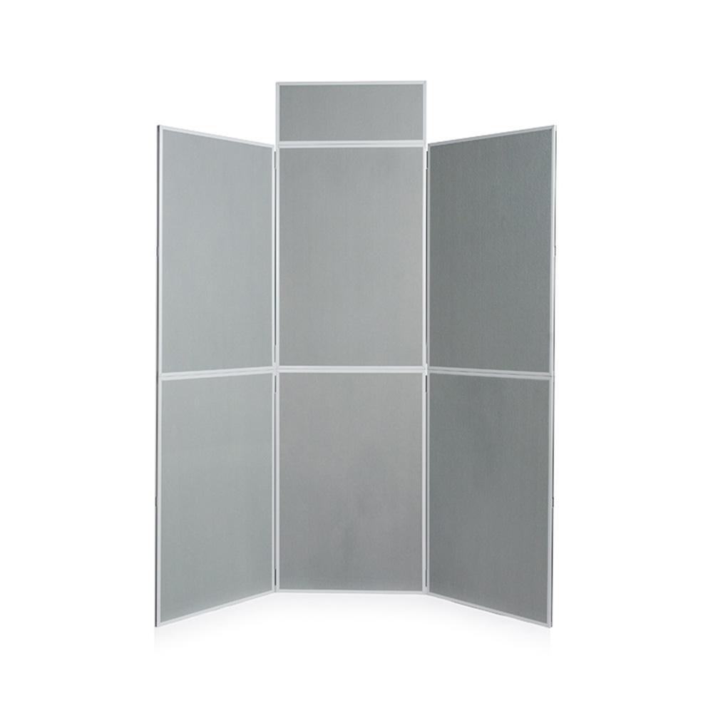 6 Panel PVC Frame Folding Display Board in Grey
