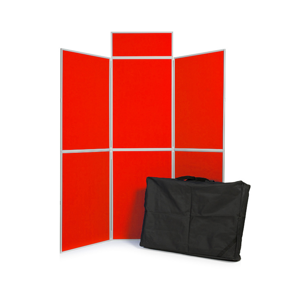 Red 6 Panel Folding Display Board with Header Panel and Carry Case