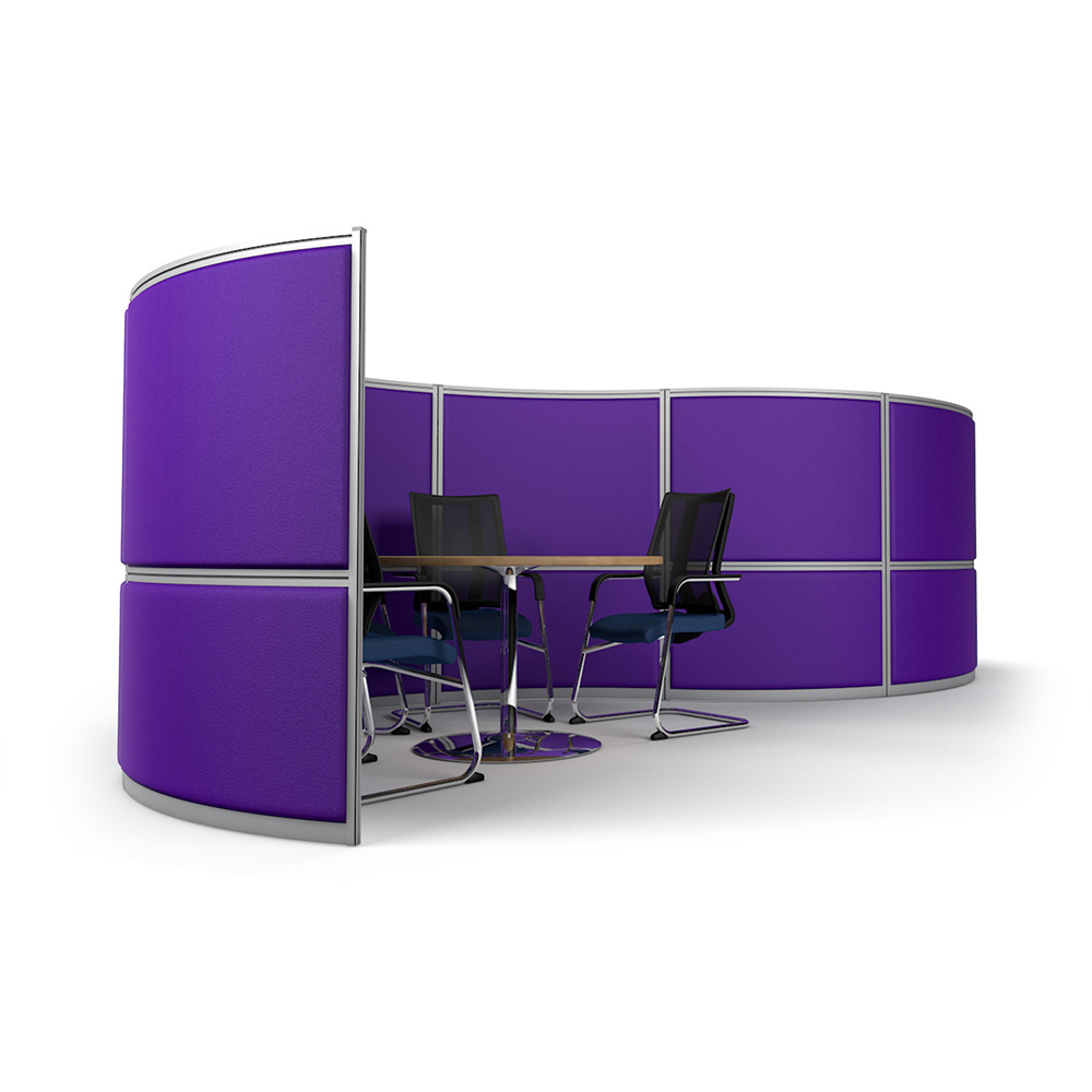 Side View of 6m Curved Office Partition Showing Integrated Meeting Pod