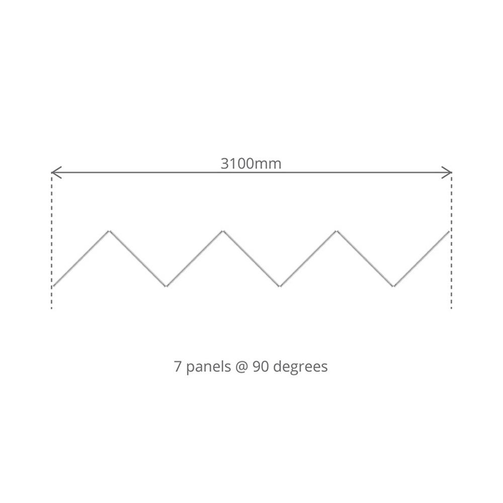 Top Down View Showing Dimensions for 7 Panel Concertina Screen