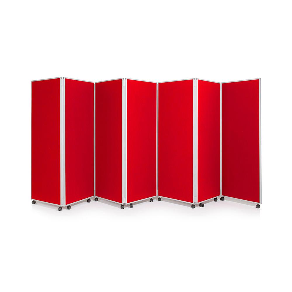 Freestanding Mobile Room Divider in Red