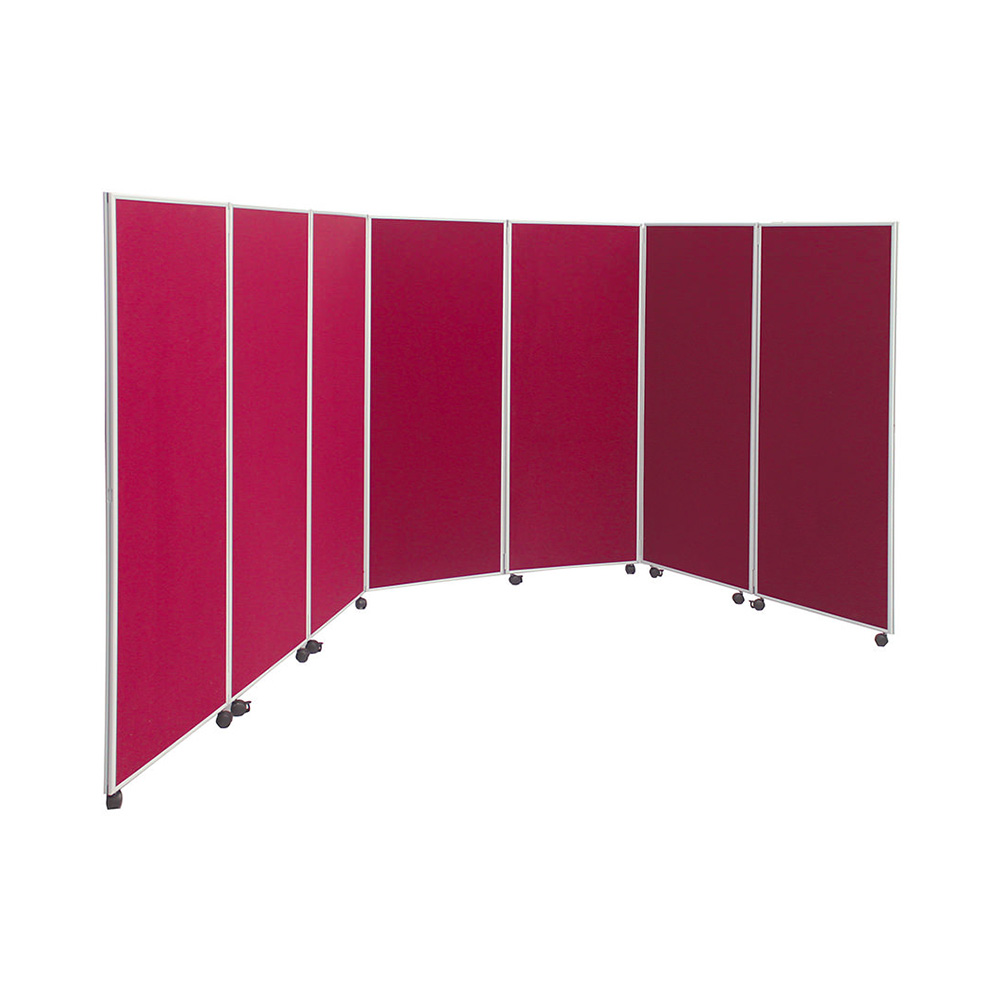 7 Panel Concertina Office Partition in Red