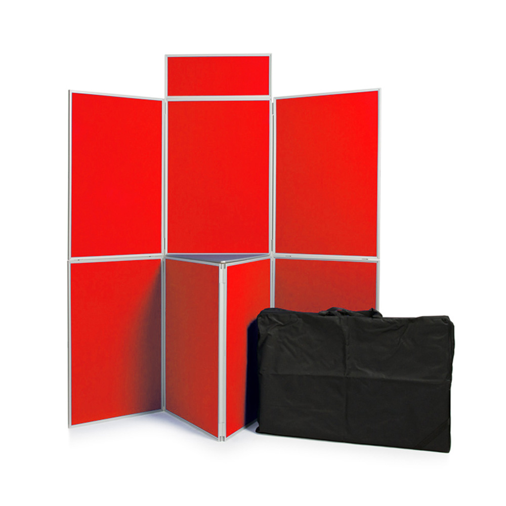 7 Panel Folding Display Boards with PVC Frame, Shelf, Header Panel and Carry Bag with Red Fabric Panels