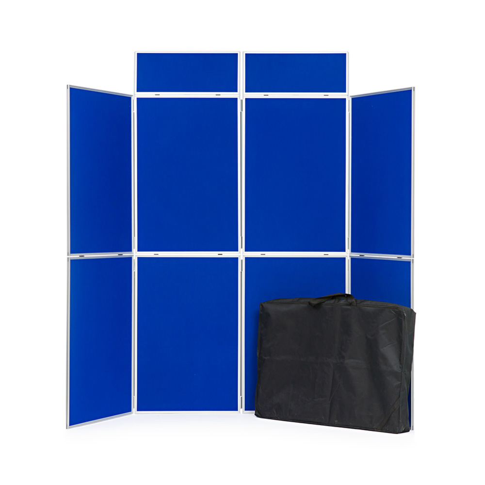 8 Panel Aluminium Presentation Board with header Panels in Blue Fabric with Supplied Carry Bag