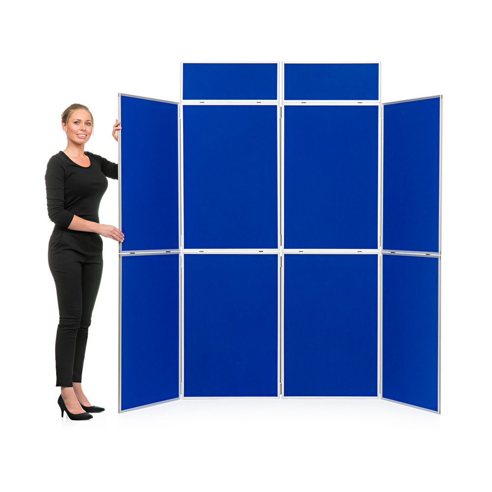 8 Panel Folding Display Boards in Blue Fabric with Header Panels