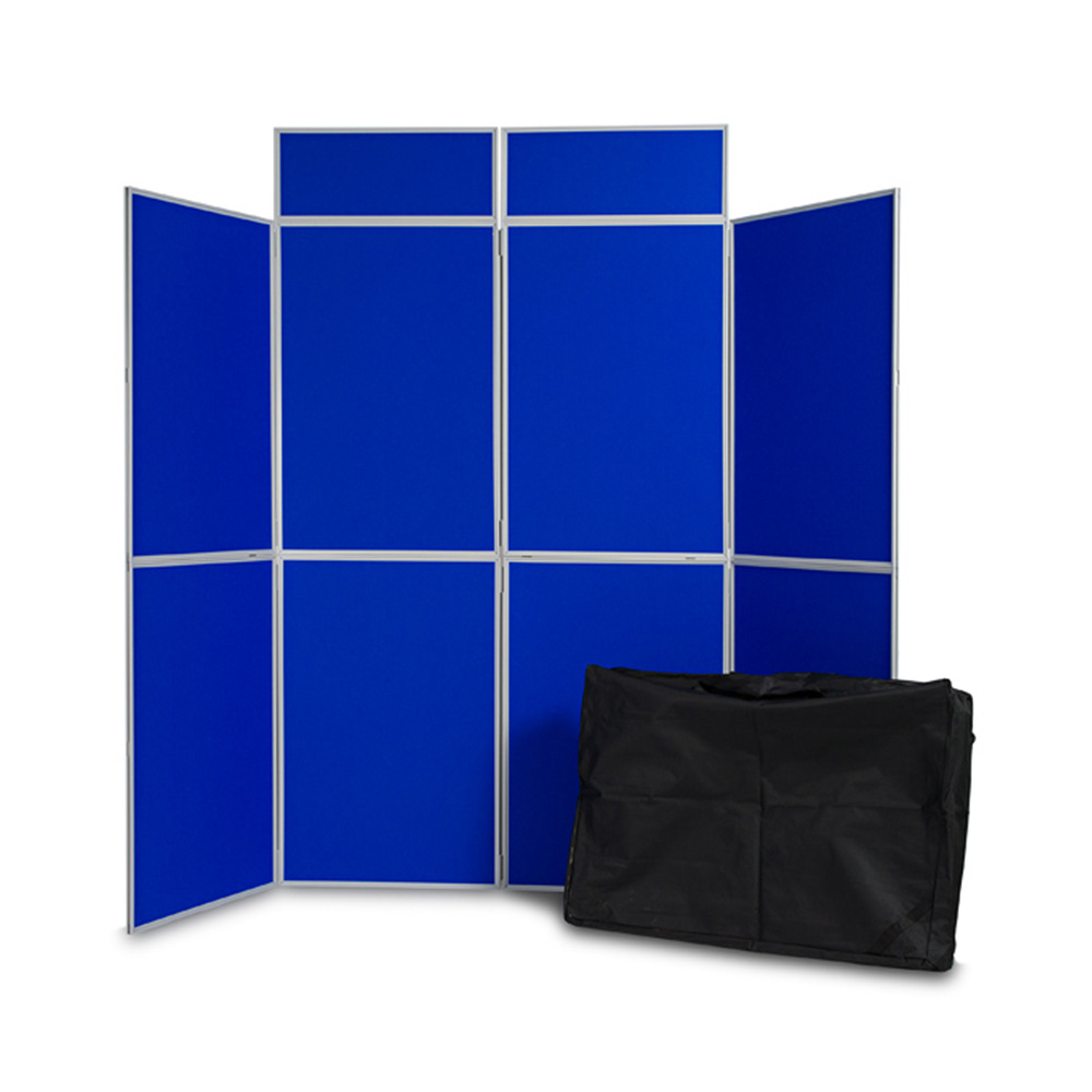 8 Panel PVC Frame Folding Display Board with Double Header and Carry Bag in with Blue Fabric Panels
