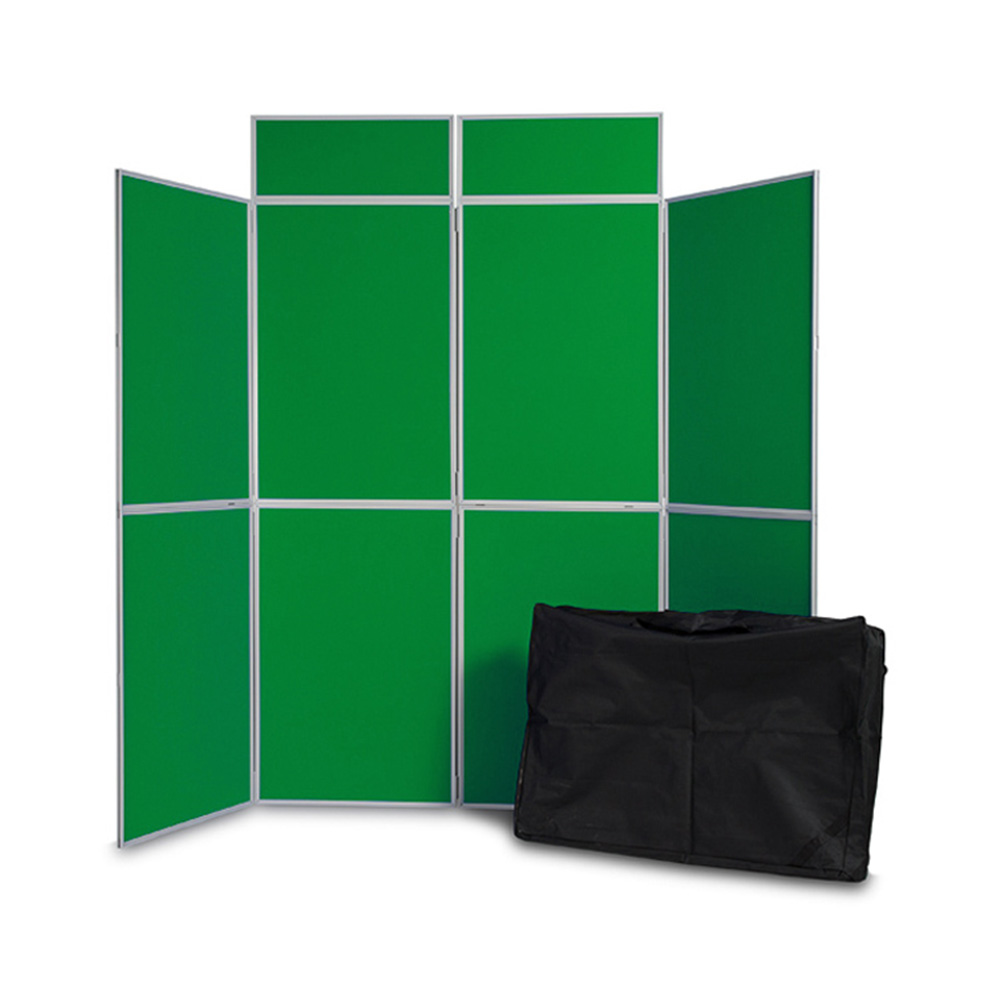 8 Panel Folding Display Boards with Header Panels and Carry Bag in Green