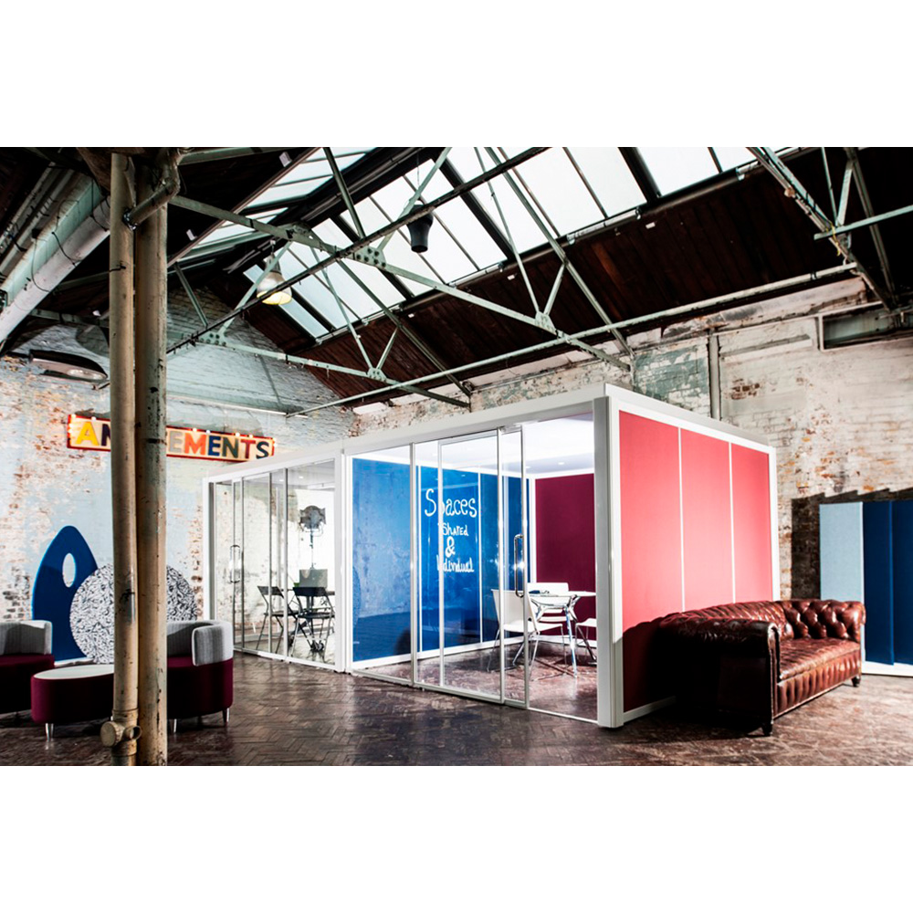 Office Pod Walls Available in Your Choice of Glass, Fabric or Dry-Wipe Materials