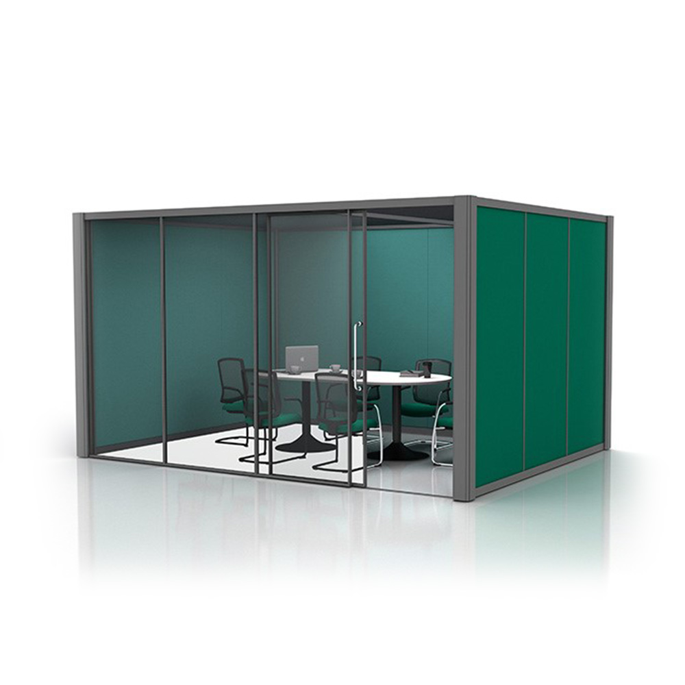 4m x 3m Acoustic Office Pod with Glass Partition and Office Furniture