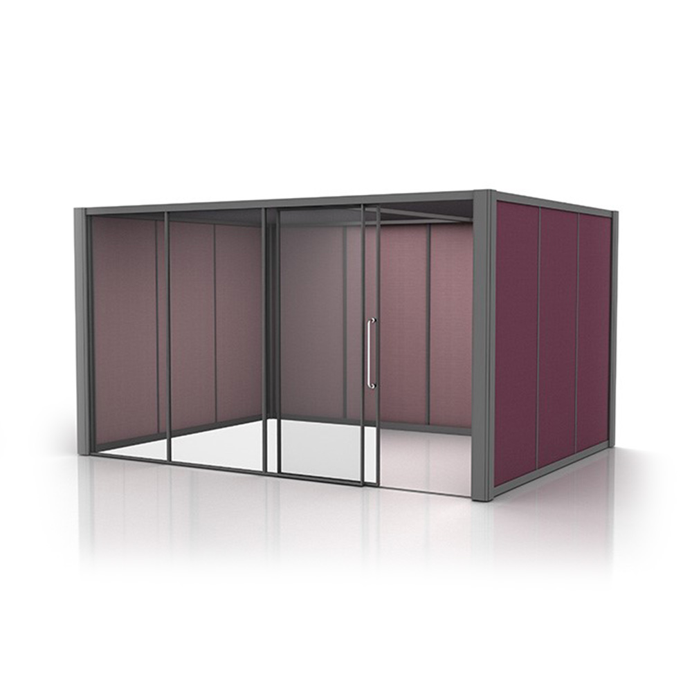 Freestanding Acoustic Office Pod with Glass and Fabric Covered Walls