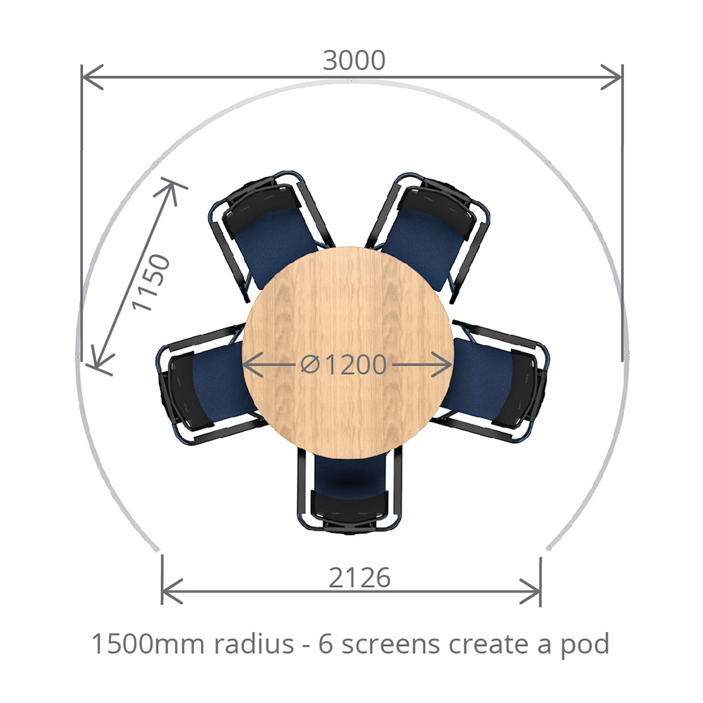 Dimensions of Circular Free Standing Office Meeting Pods