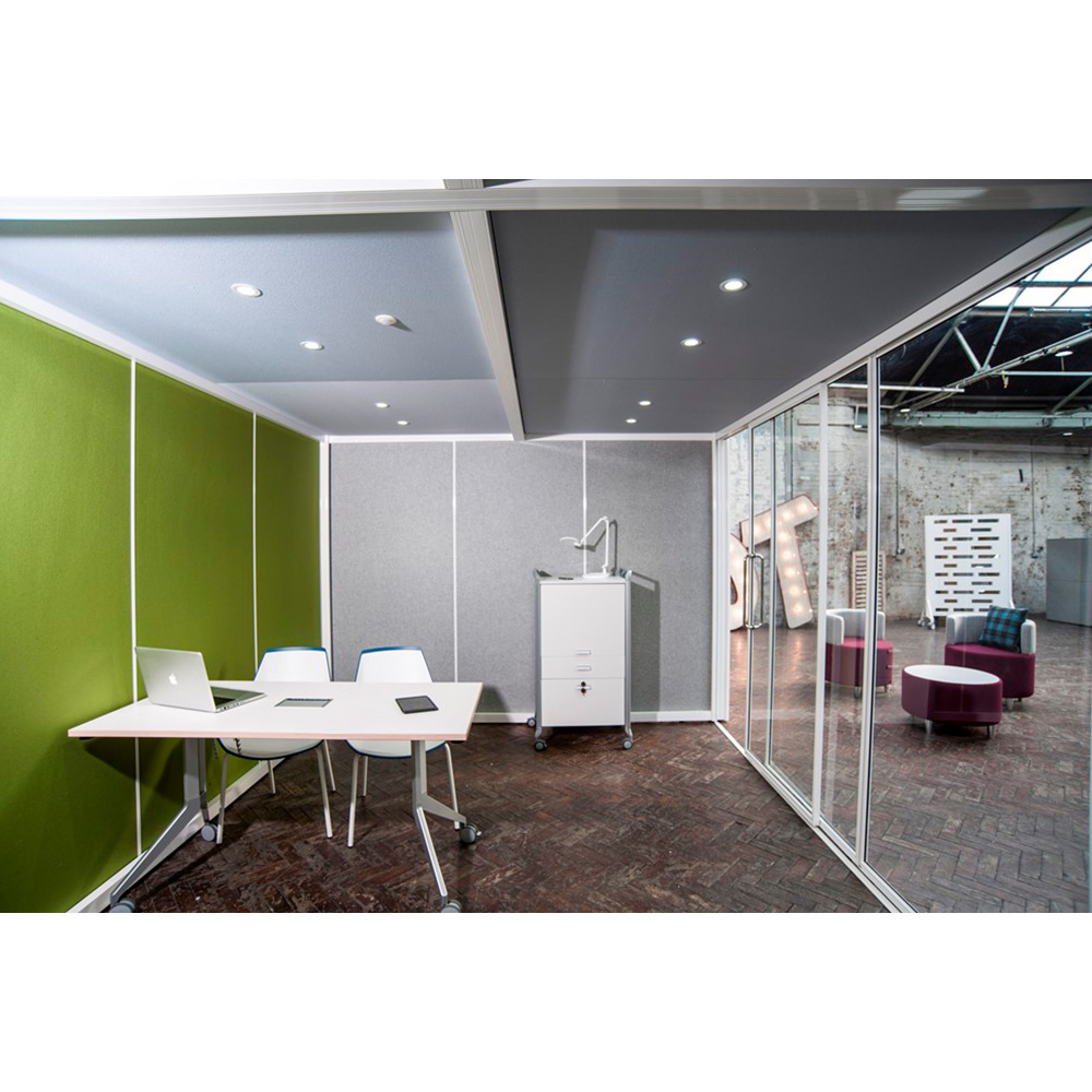 Glass Meeting Pods Come with a Choice of Fabric Colour Options