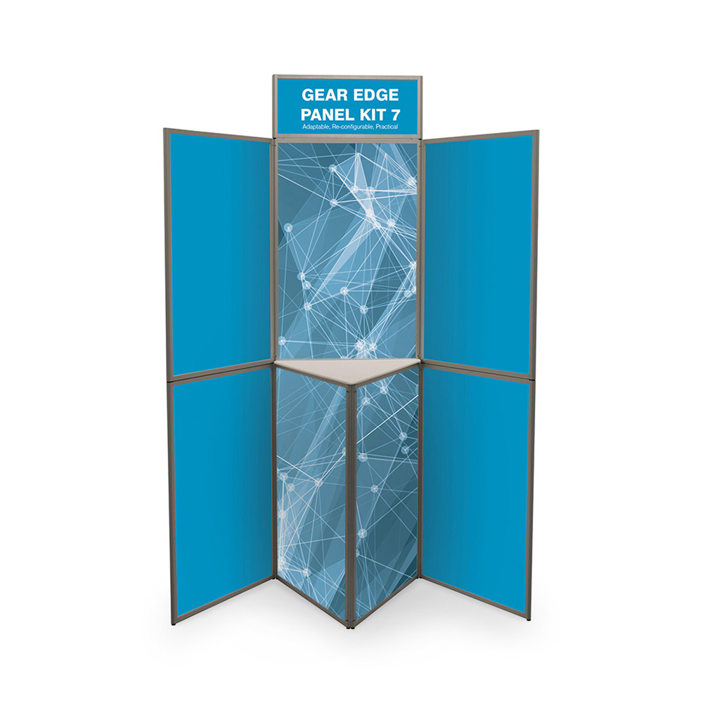 7 Panel Folding Heavy Duty Presentation Boards in Blue with Printed Graphics and Shelving