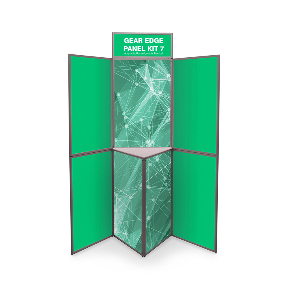 7 Panel Folding Display Boards with Shelf and Printed Graphics