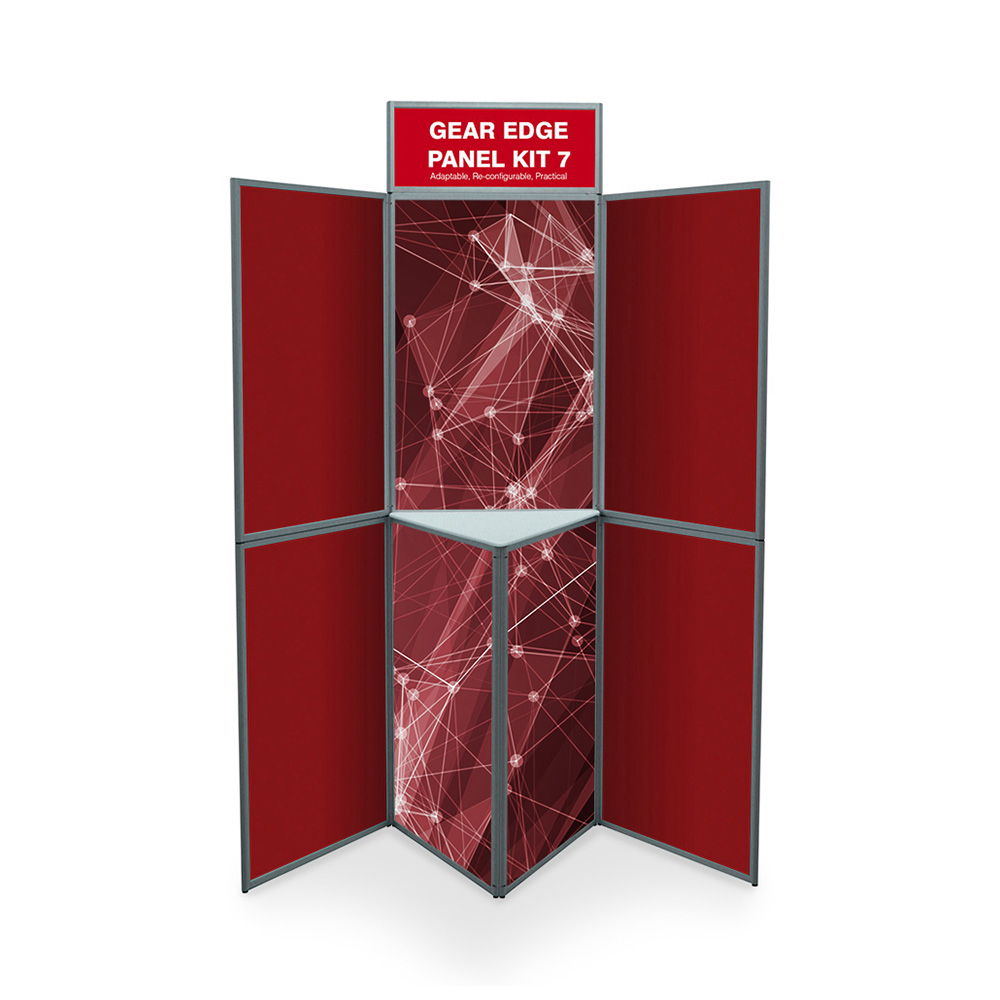 7 Panel Heavy Duty Display Board in Red with Shelf and Printed Graphics
