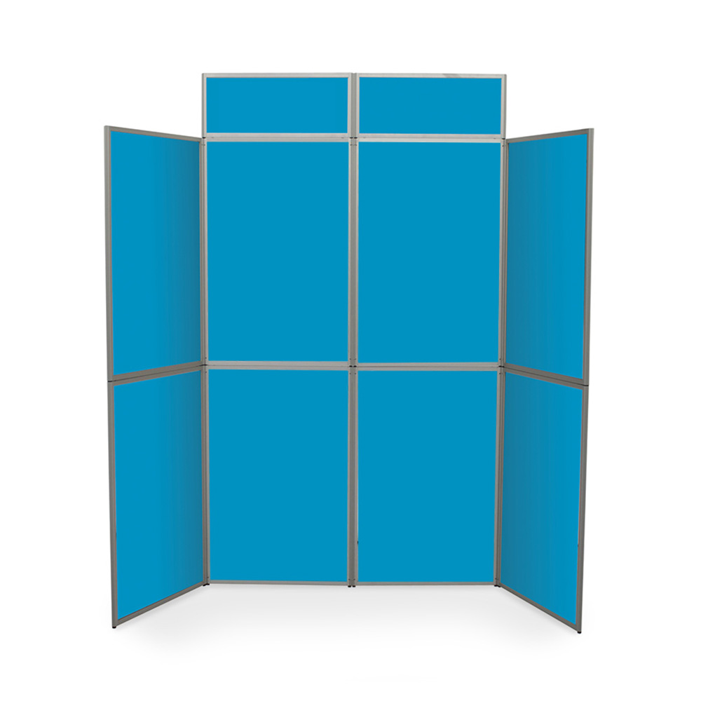 8 Panel Heavy Duty Presentation Boards with Header in Blue Fabric