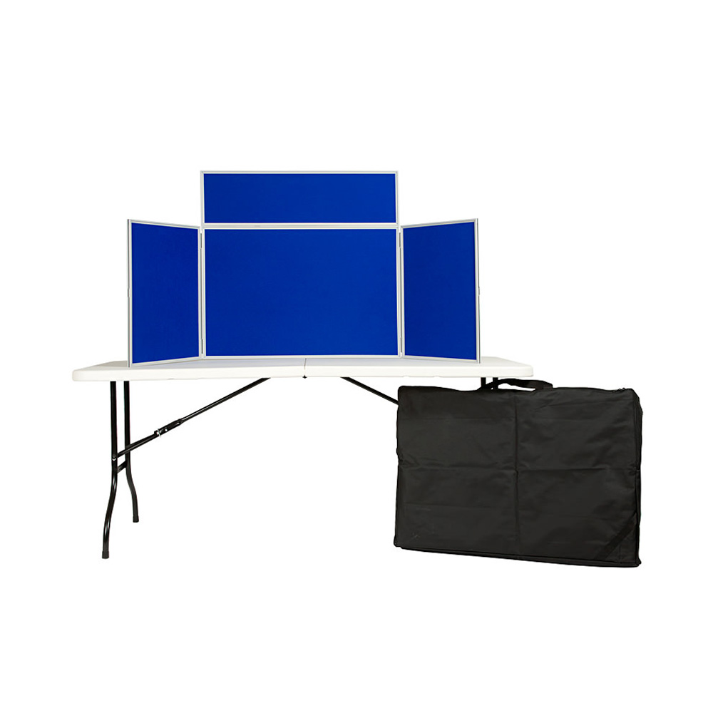 3 Panel Landscape Table Top Folding Display Board Presentation Kit in Blue with Carry Bag