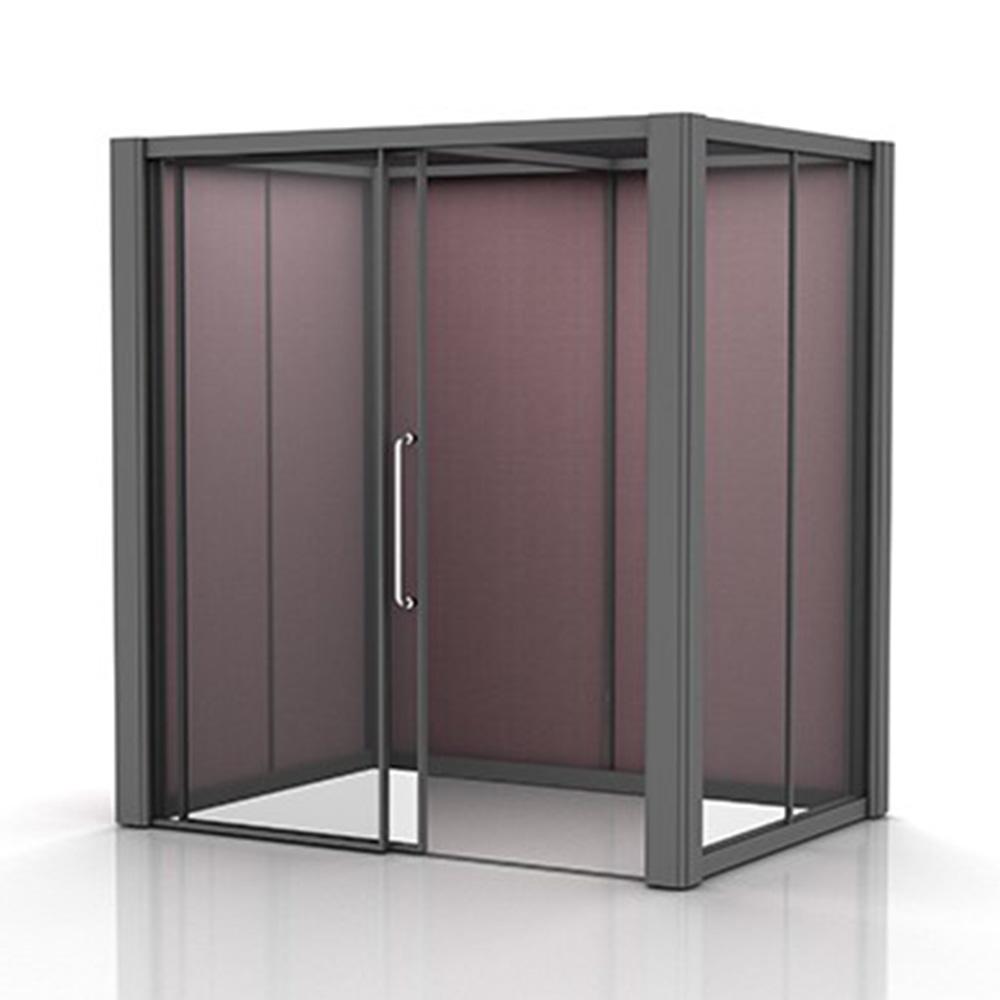 Freestanding 2x1.5m Glass Meeting Po with Sliding Door