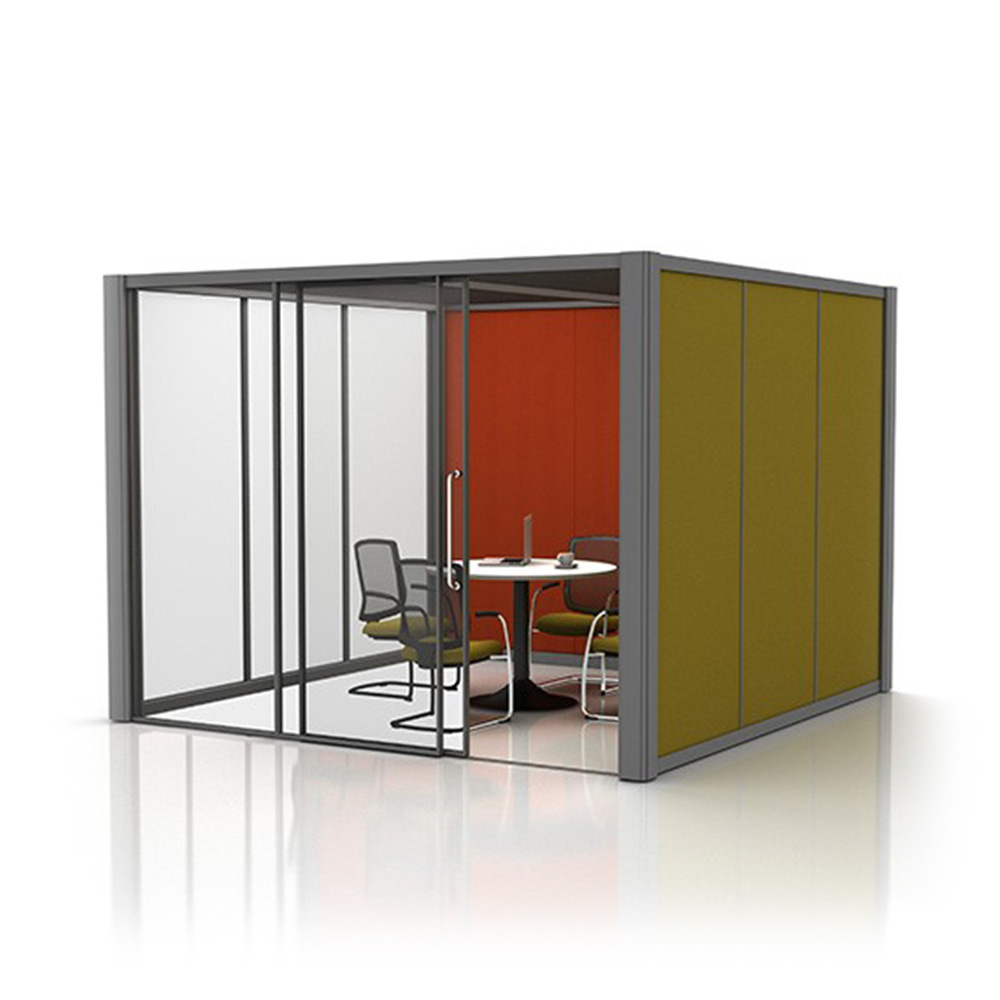 3m x 3m Partially Glazed Meeting Room with Office Furniture