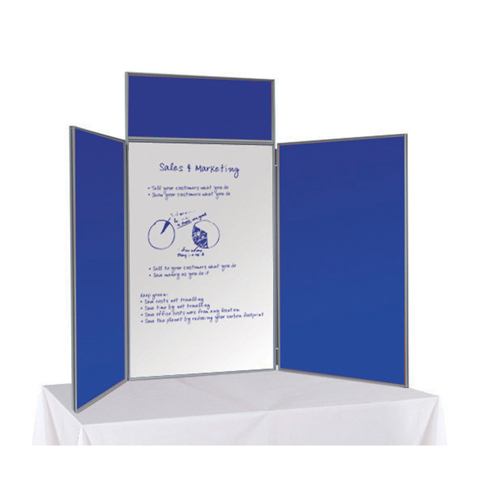 3 Panel Folding Table Top Display Boards in Blue with Posters