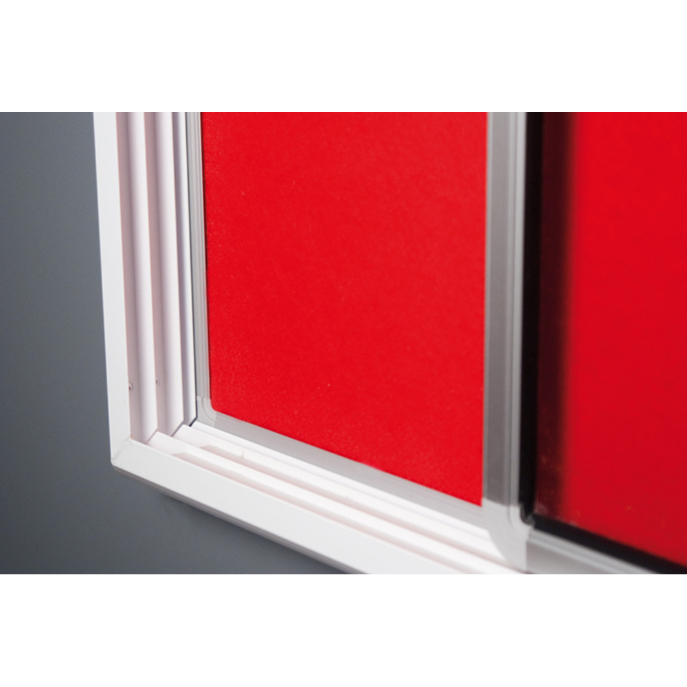 Close Up of Noticeboard Frame with Red Fabric
