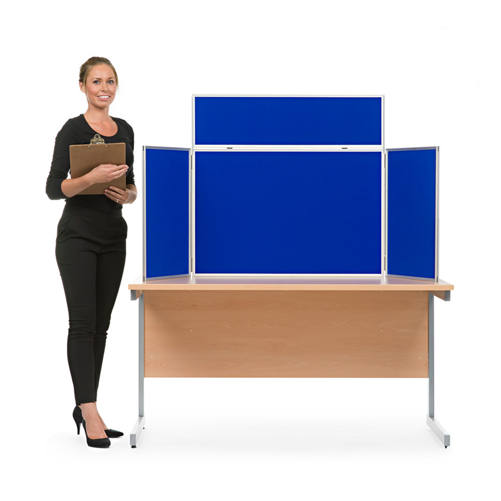 Table Top Aluminium Display Board with Header Panels and Blue Fabric