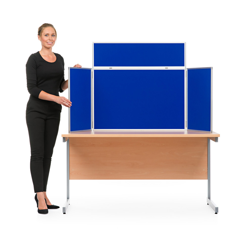 Aluminium Table Top Display Board Kit in Landscape Orientation with Blue Fabric
